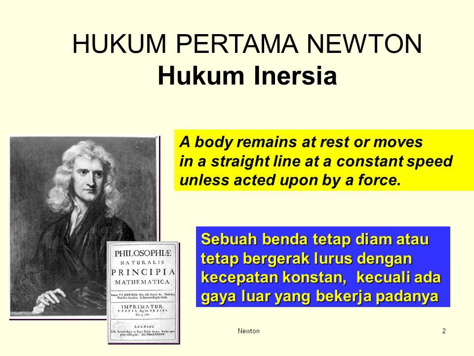HUKUM PERTAMA NEWTON Hukum Inersia