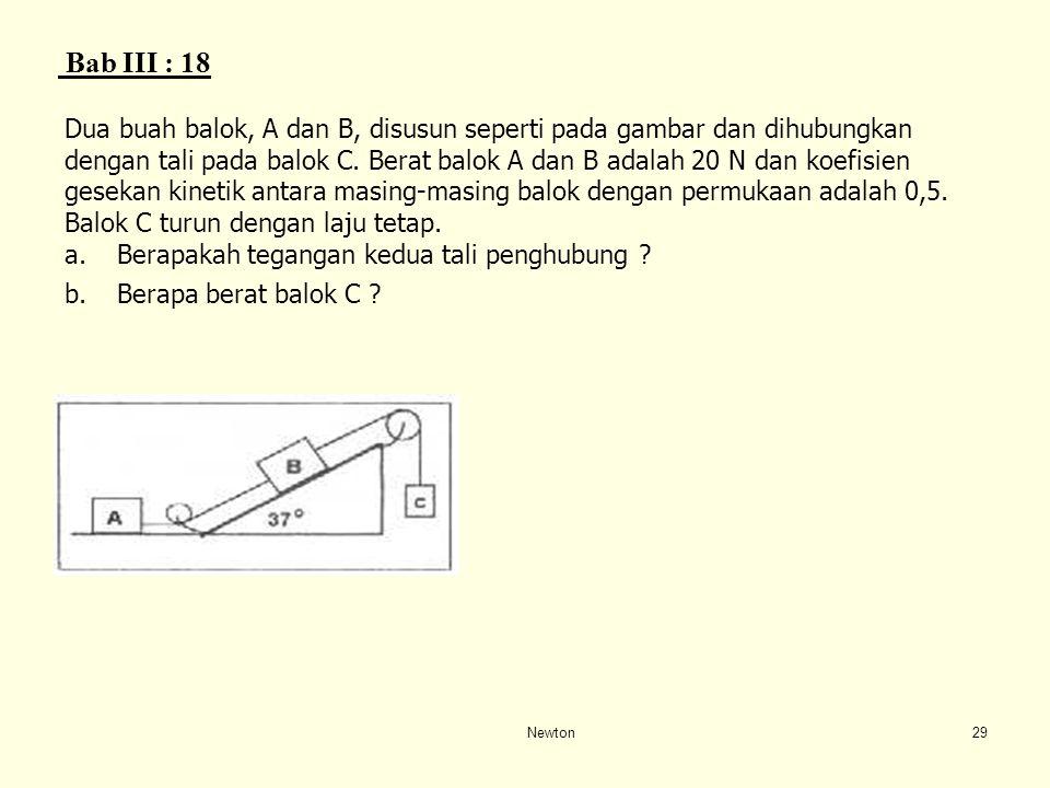 Bab III : 18 Dua buah balok, A dan B, disusun seperti pada gambar dan dihubungkan.