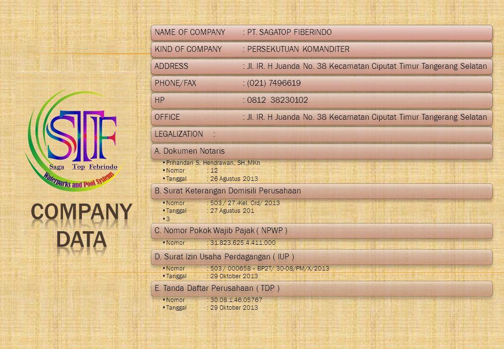 COMPANY DATA NAME OF COMPANY : PT. SAGATOP FIBERINDO