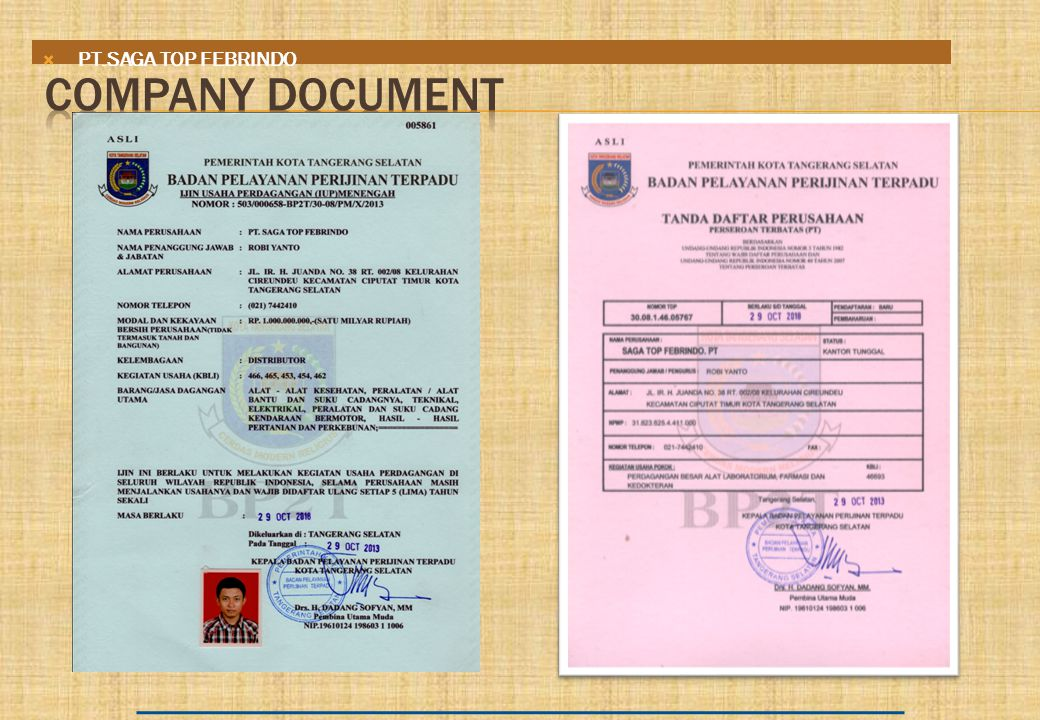 PT.SAGA TOP FEBRINDO COMPANY DOCUMENT