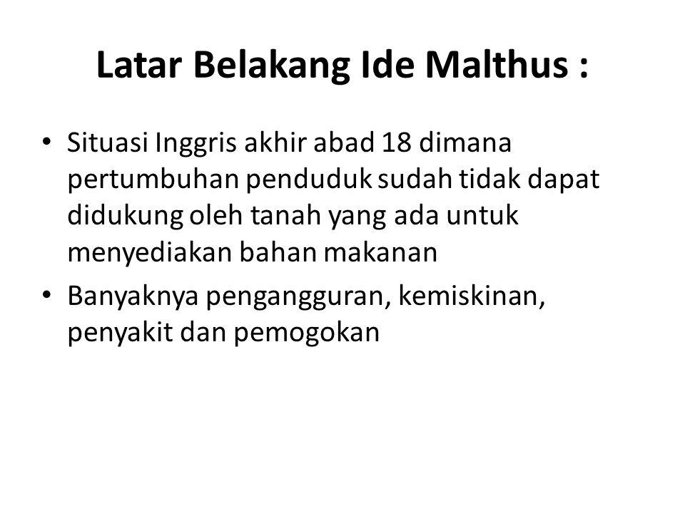 Latar Belakang Ide Malthus :