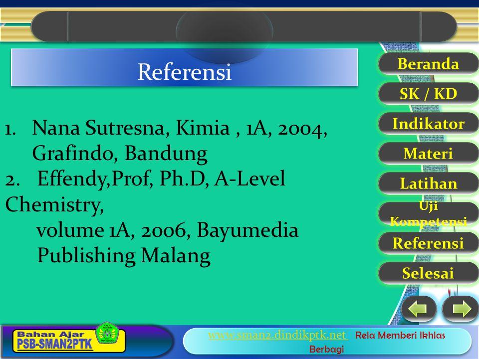 Referensi Nana Sutresna, Kimia , 1A, 2004, Grafindo, Bandung