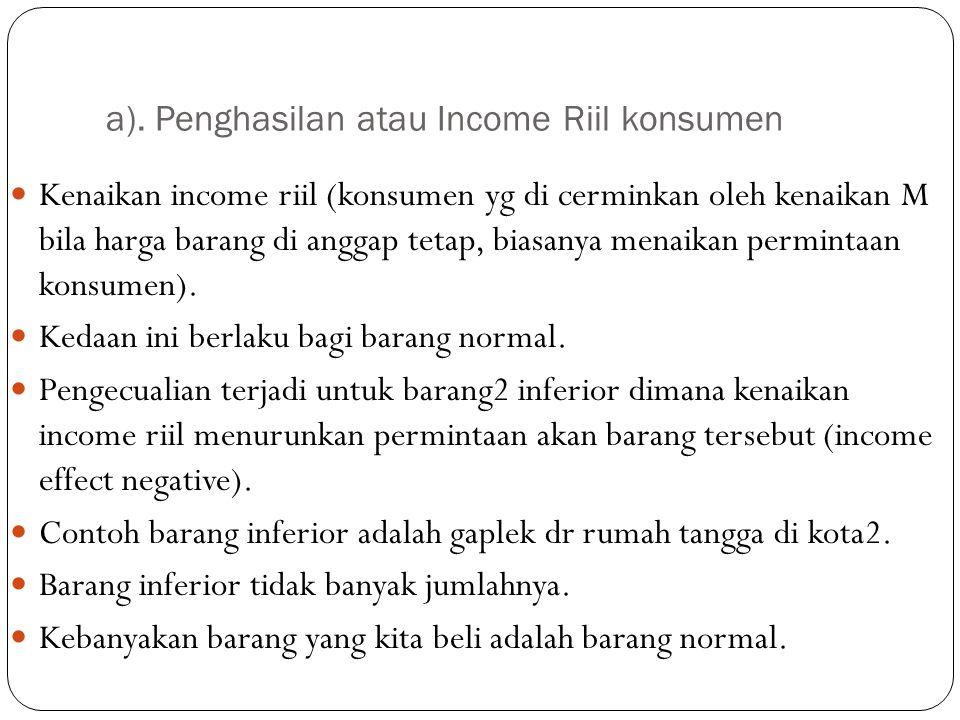 a). Penghasilan atau Income Riil konsumen