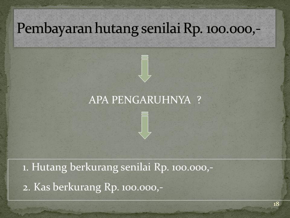 Pembayaran hutang senilai Rp. 100.000,-