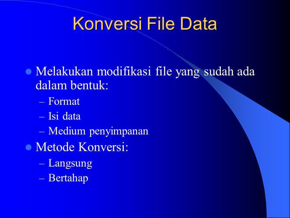 Konversi File Data Melakukan modifikasi file yang sudah ada dalam bentuk: Format. Isi data. Medium penyimpanan.