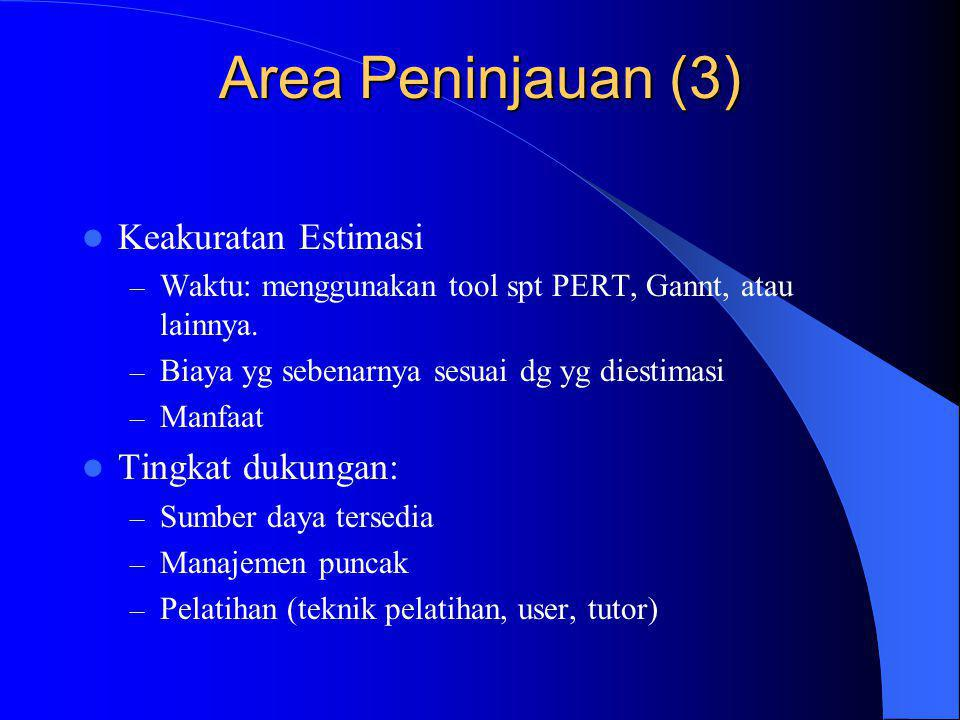 Area Peninjauan (3) Keakuratan Estimasi Tingkat dukungan: