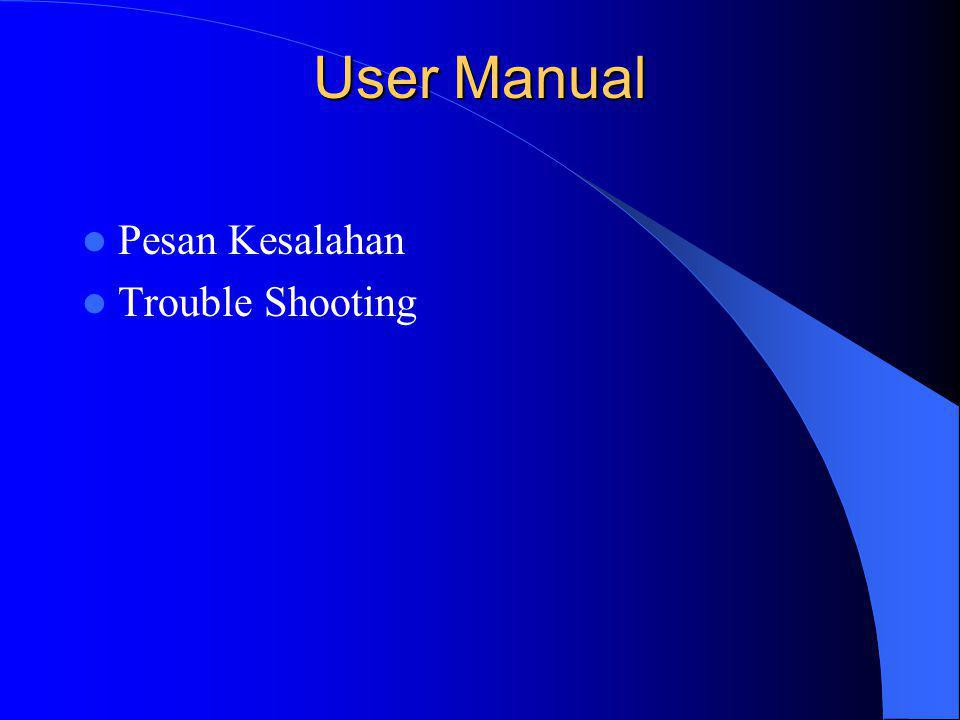 User Manual Pesan Kesalahan Trouble Shooting