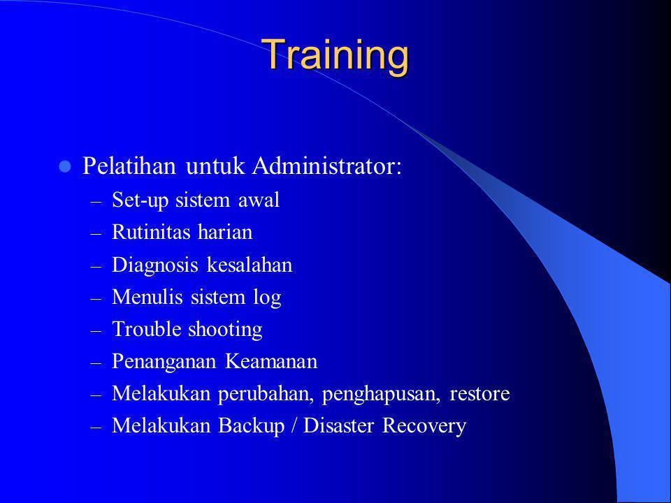 Training Pelatihan untuk Administrator: Set-up sistem awal