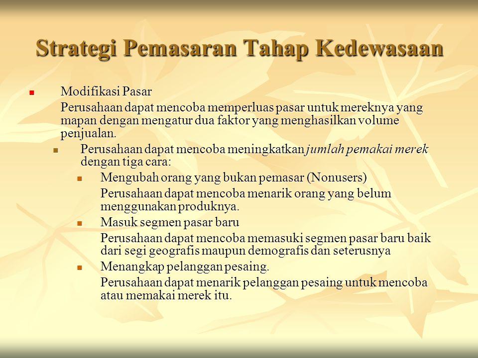 Strategi Pemasaran Tahap Kedewasaan