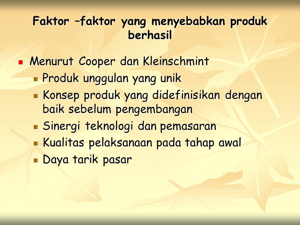 Faktor –faktor yang menyebabkan produk berhasil