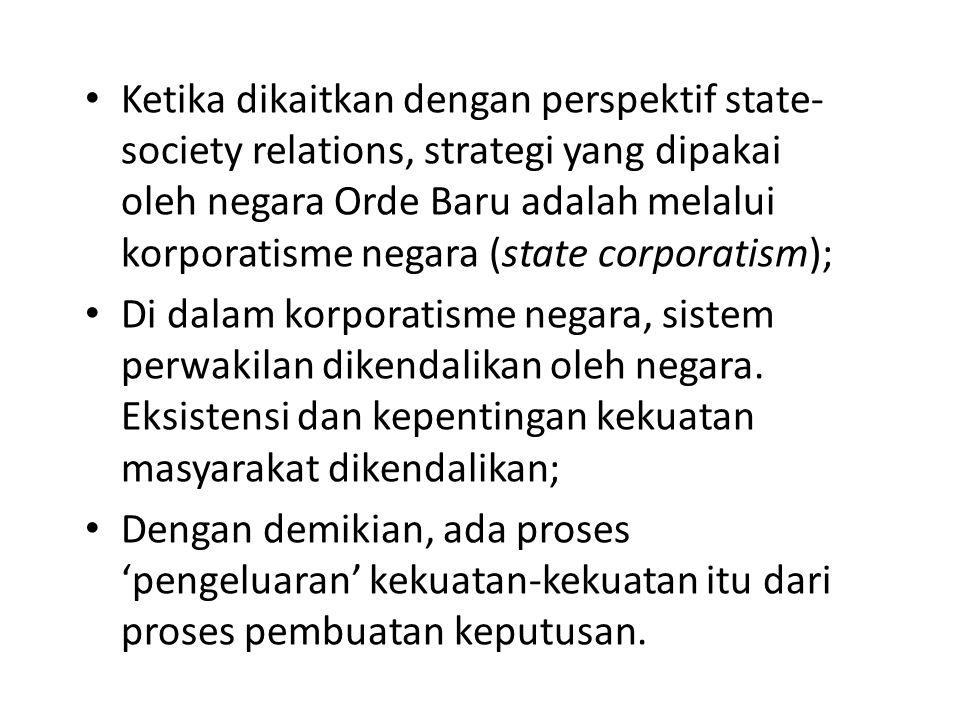 Ketika dikaitkan dengan perspektif state-society relations, strategi yang dipakai oleh negara Orde Baru adalah melalui korporatisme negara (state corporatism);