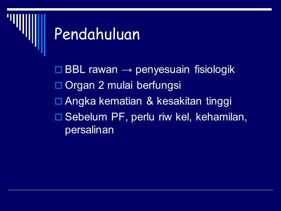 Pendahuluan BBL rawan → penyesuain fisiologik Organ 2 mulai berfungsi