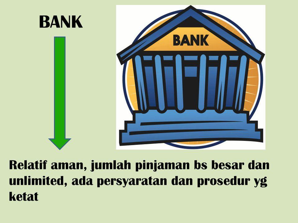BANK Relatif aman, jumlah pinjaman bs besar dan unlimited, ada persyaratan dan prosedur yg ketat
