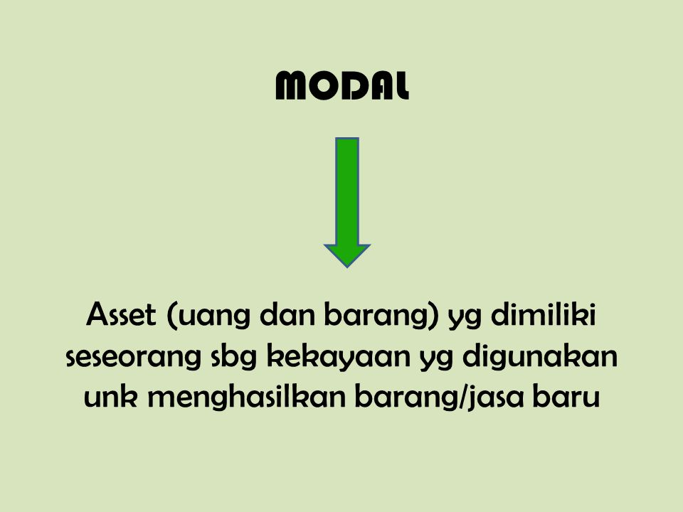 MODAL Asset (uang dan barang) yg dimiliki seseorang sbg kekayaan yg digunakan unk menghasilkan barang/jasa baru.