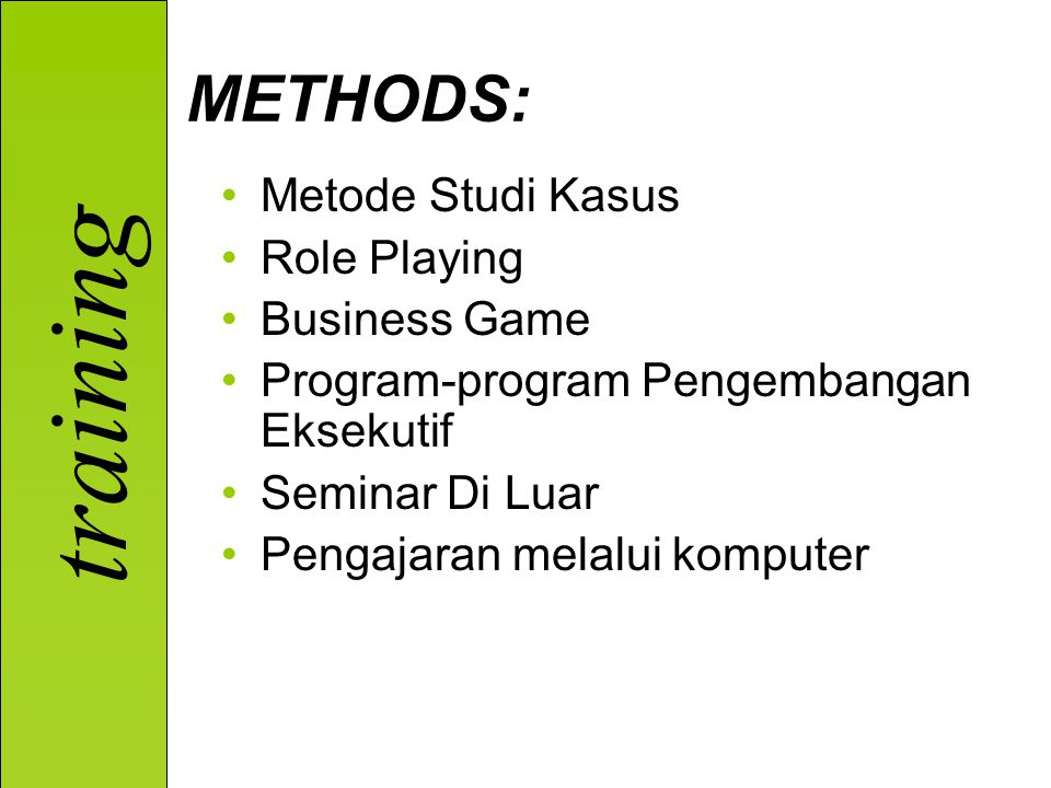 METHODS: Metode Studi Kasus Role Playing Business Game