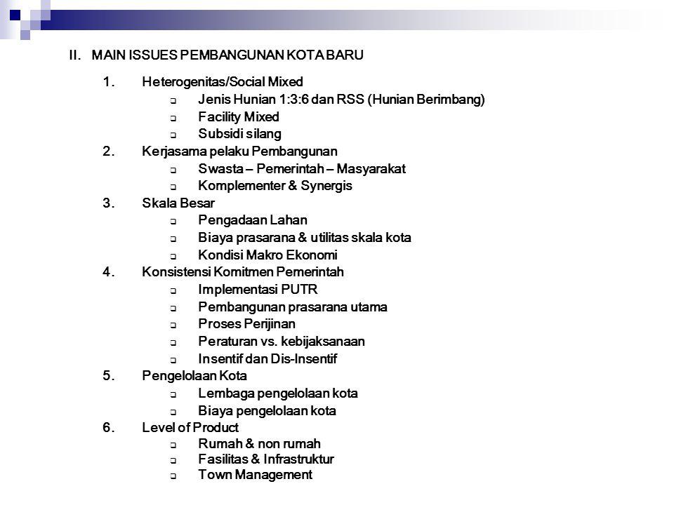 II. MAIN ISSUES PEMBANGUNAN KOTA BARU
