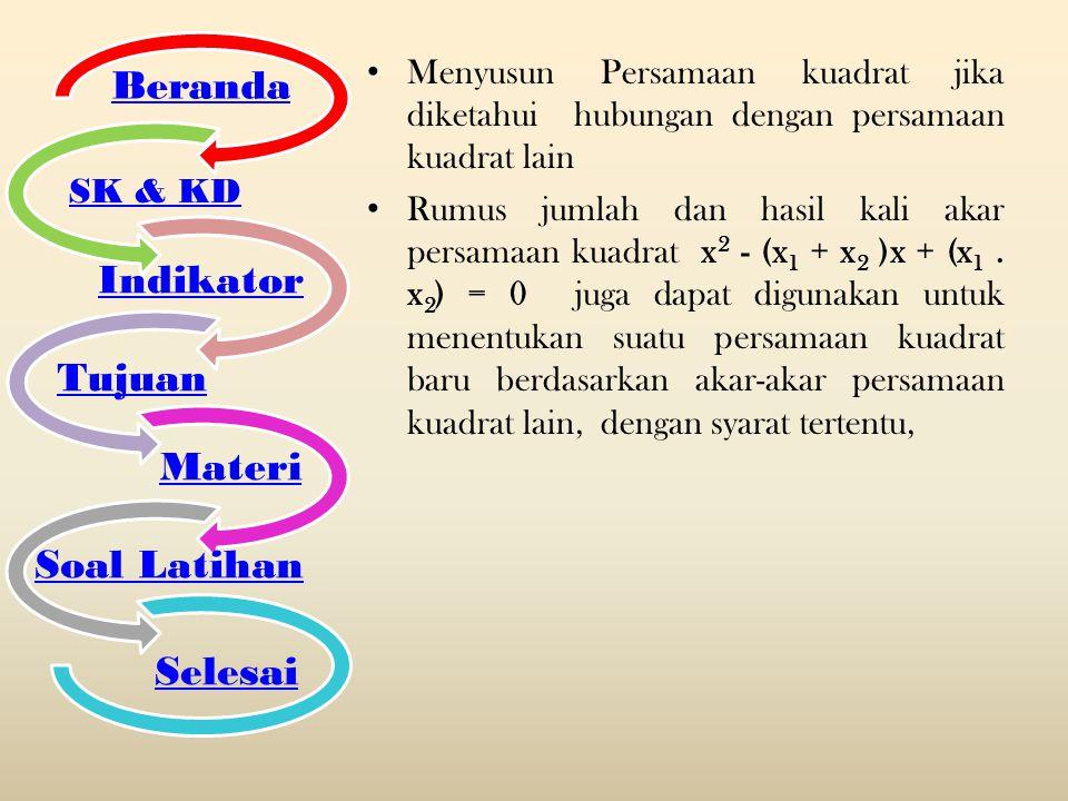 Beranda Indikator Tujuan Materi Soal Latihan Selesai SK & KD