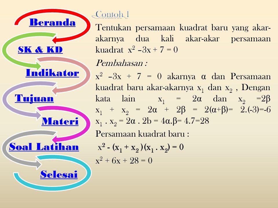 Beranda Indikator Tujuan Materi Soal Latihan Selesai SK & KD Contoh 1