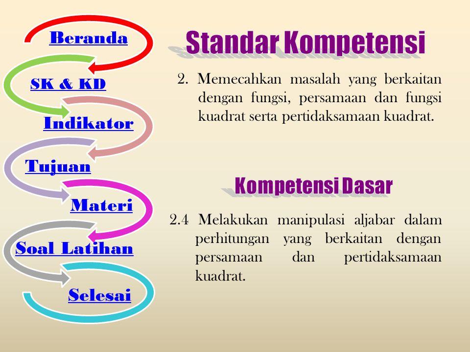 Standar Kompetensi Kompetensi Dasar Beranda Indikator Tujuan Materi