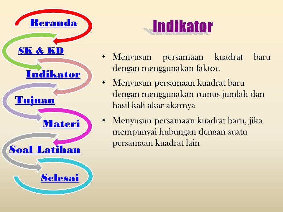 Indikator Beranda Indikator Tujuan Materi Soal Latihan Selesai SK & KD
