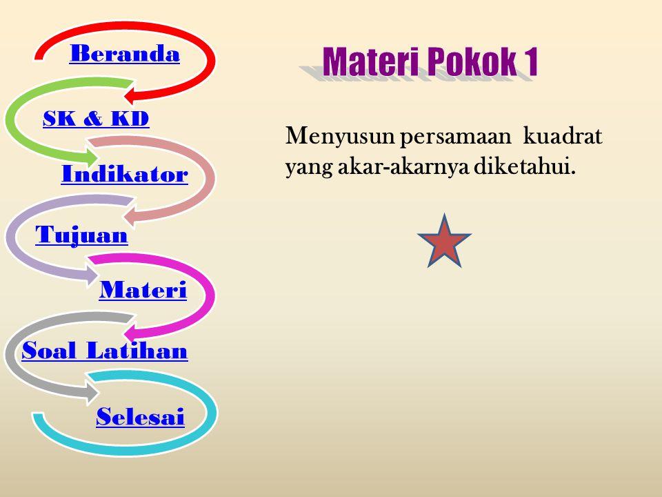 Materi Pokok 1 Beranda Indikator Tujuan Materi Soal Latihan Selesai