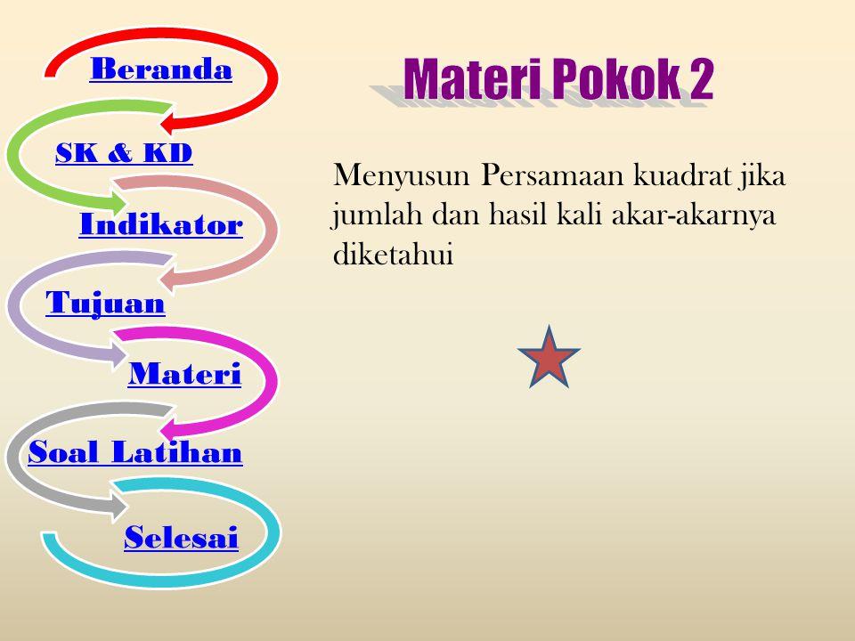 Materi Pokok 2 Beranda Indikator Tujuan Materi Soal Latihan Selesai