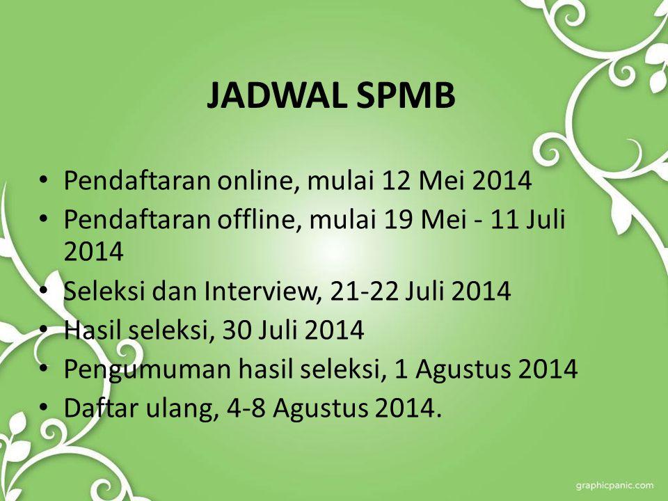 JADWAL SPMB Pendaftaran online, mulai 12 Mei 2014