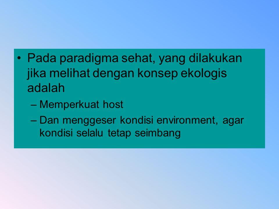 Pada paradigma sehat, yang dilakukan jika melihat dengan konsep ekologis adalah