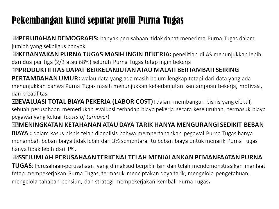 Pekembangan kunci seputar profil Purna Tugas