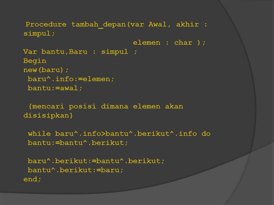 Procedure tambah_depan(var Awal, akhir : simpul;