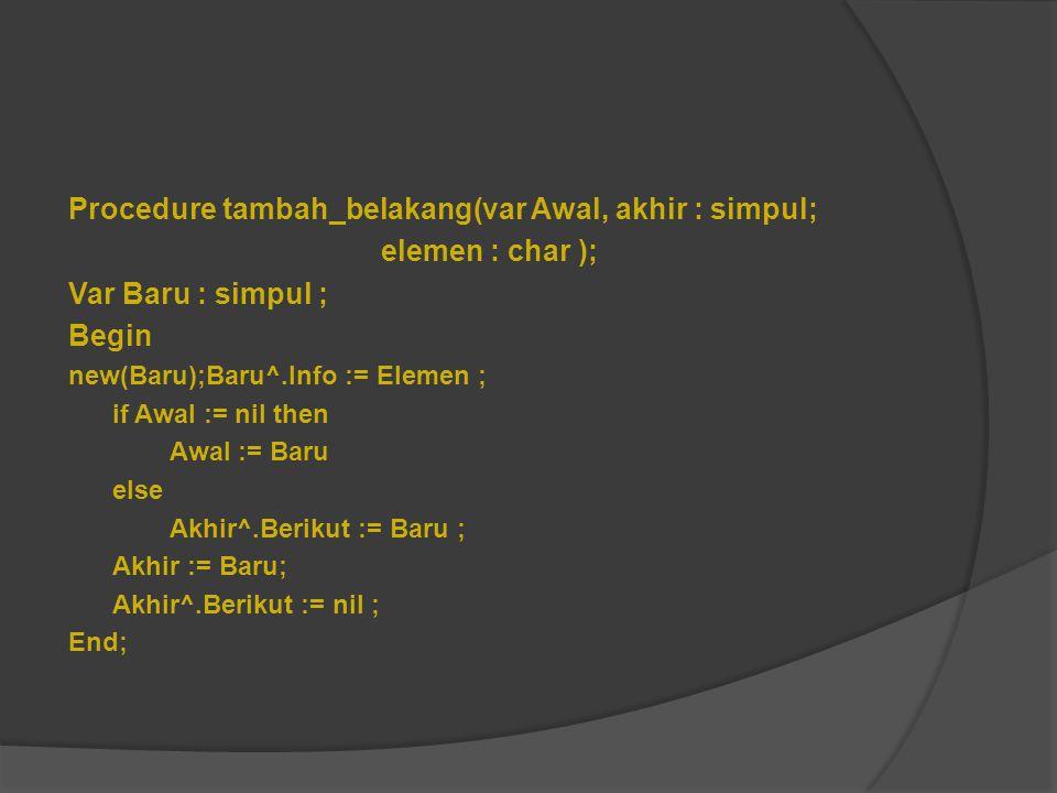 Procedure tambah_belakang(var Awal, akhir : simpul; elemen : char );