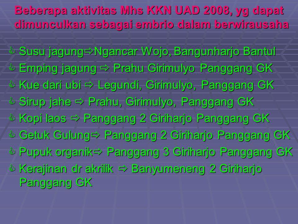 Beberapa aktivitas Mhs KKN UAD 2008, yg dapat dimunculkan sebagai embrio dalam berwirausaha