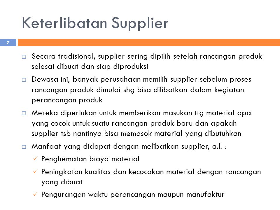 Keterlibatan Supplier