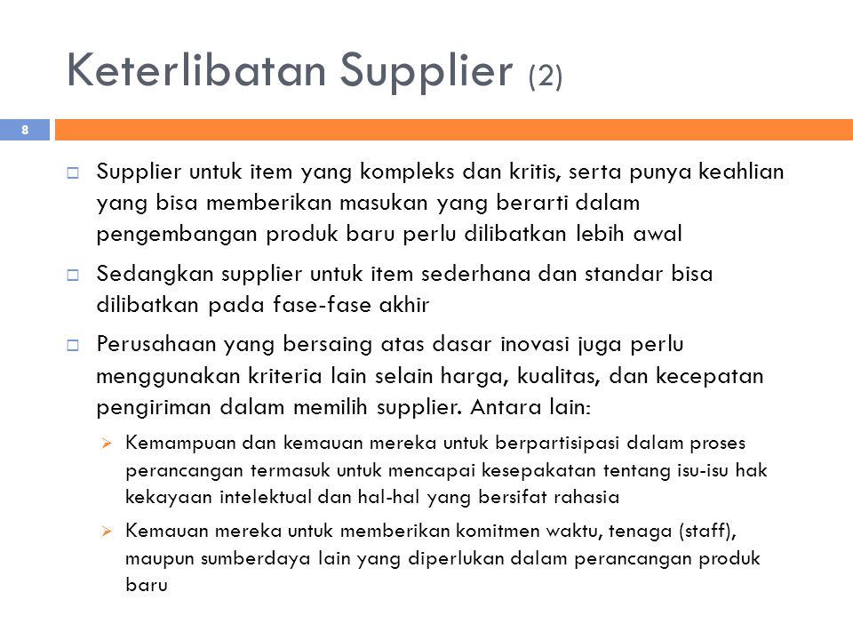 Keterlibatan Supplier (2)