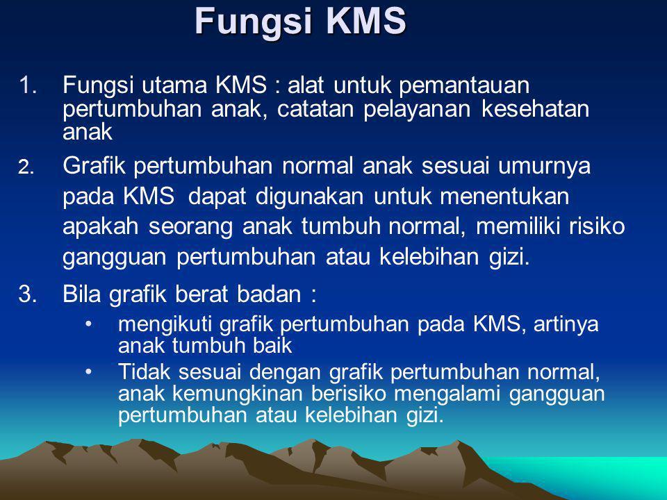 Fungsi KMS Fungsi utama KMS : alat untuk pemantauan pertumbuhan anak, catatan pelayanan kesehatan anak.