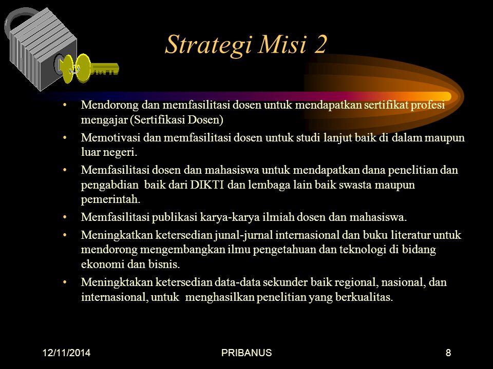 Strategi Misi 2 Mendorong dan memfasilitasi dosen untuk mendapatkan sertifikat profesi mengajar (Sertifikasi Dosen)