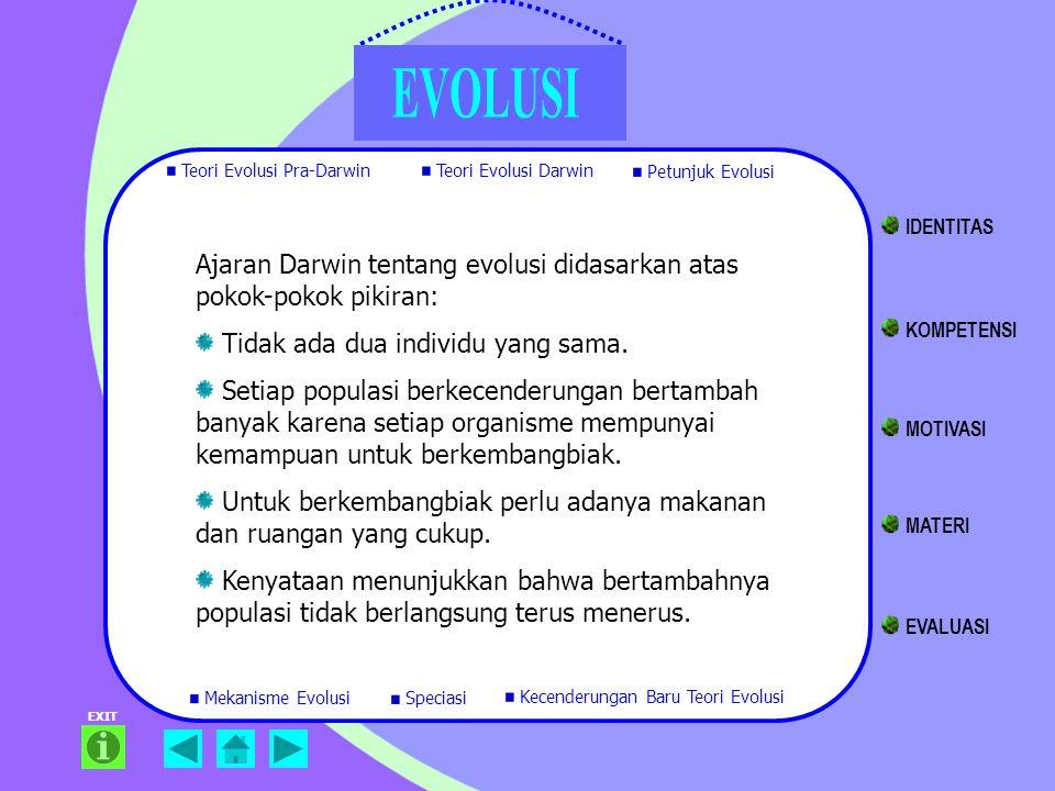 Ajaran Darwin tentang evolusi didasarkan atas pokok-pokok pikiran: