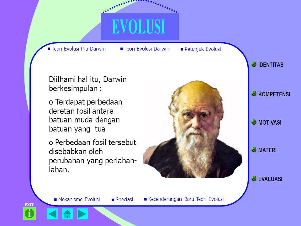 Diilhami hal itu, Darwin berkesimpulan :