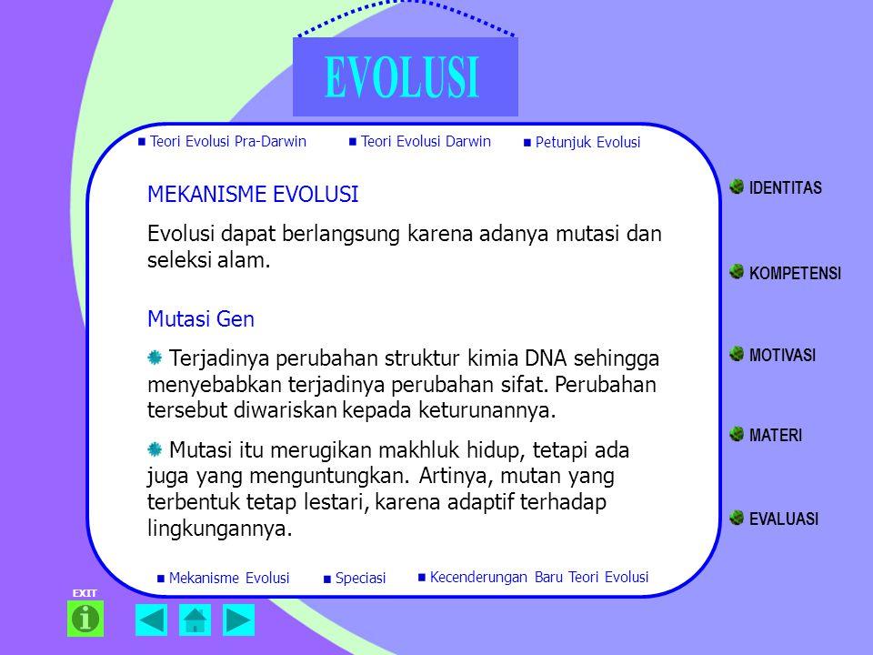 Evolusi dapat berlangsung karena adanya mutasi dan seleksi alam.