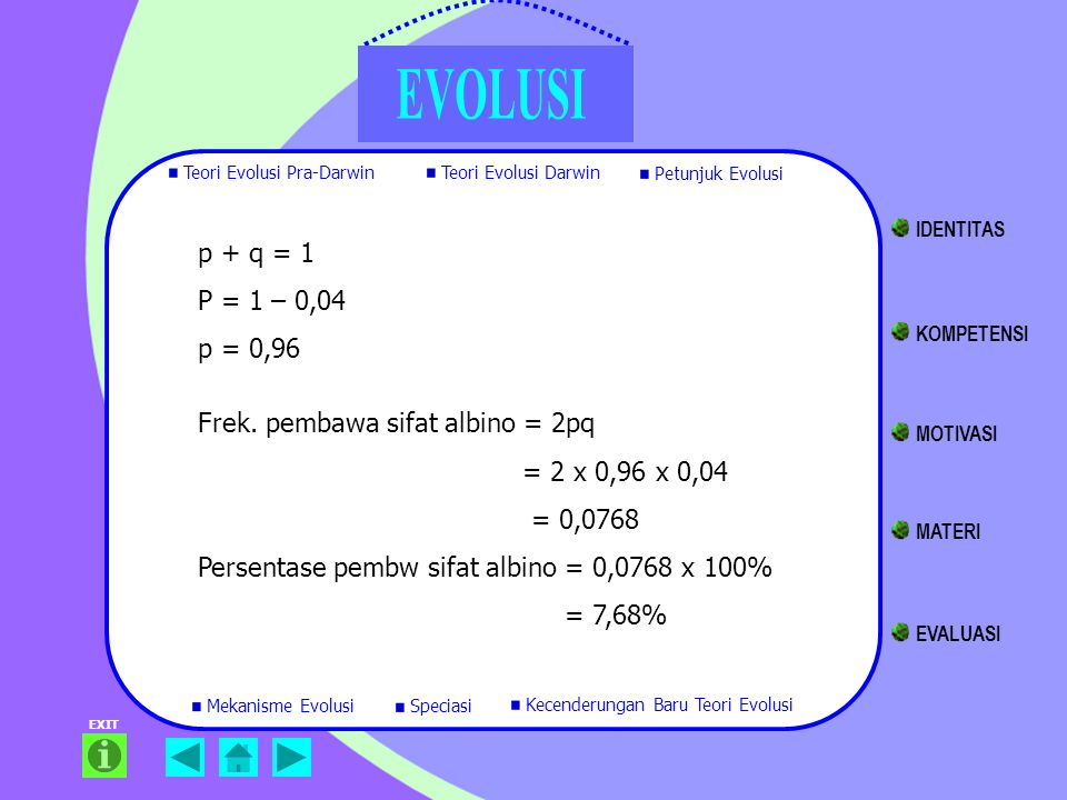 Frek. pembawa sifat albino = 2pq = 2 x 0,96 x 0,04 = 0,0768