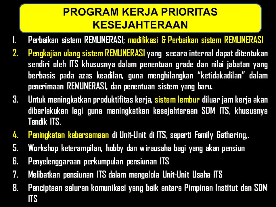 PROGRAM KERJA PRIORITAS KESEJAHTERAAN