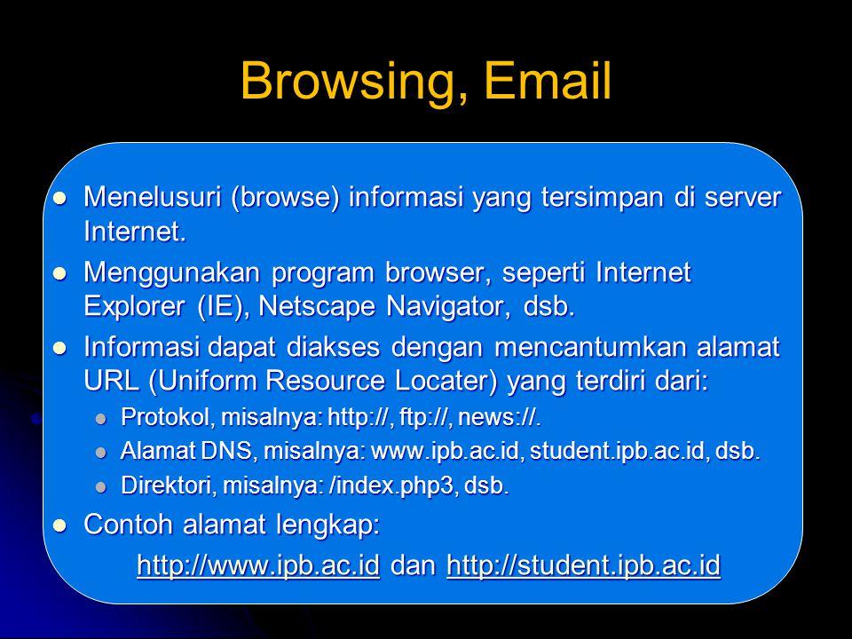 Browsing, Email Menelusuri (browse) informasi yang tersimpan di server Internet.