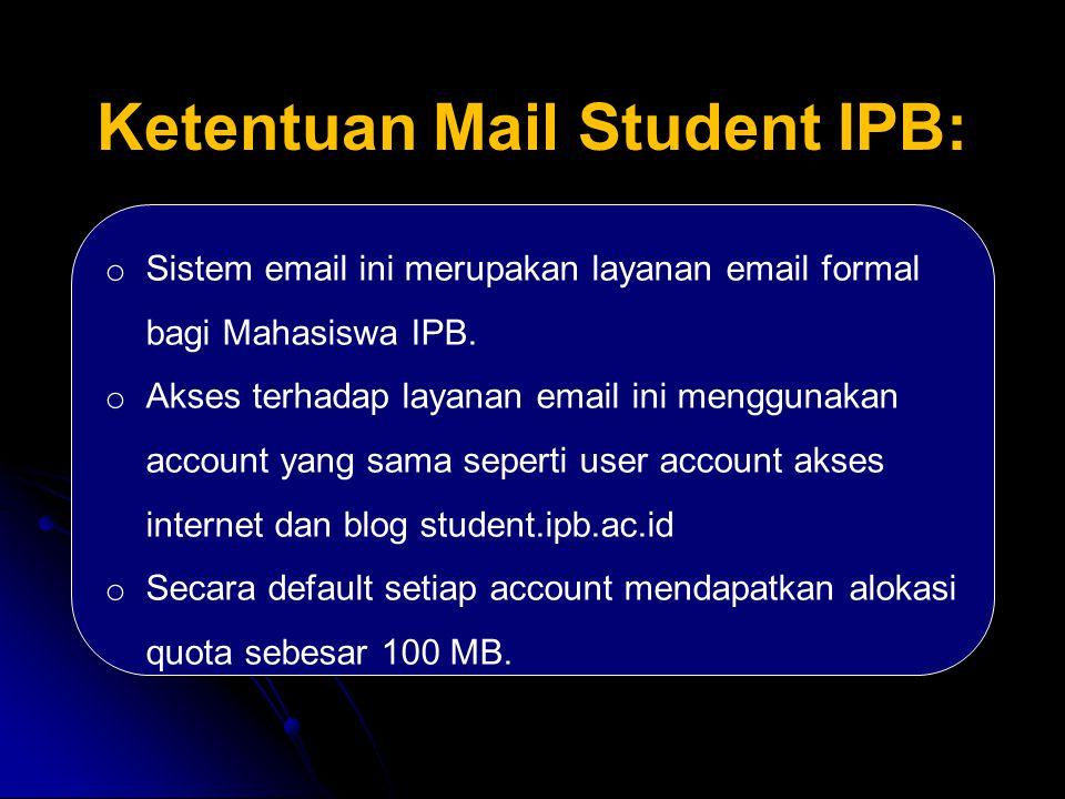 Ketentuan Mail Student IPB: