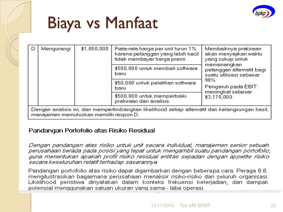Biaya vs Manfaat 4/7/2017 Tim MR BPKP