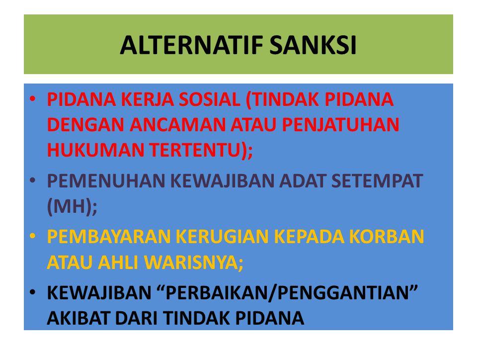 ALTERNATIF SANKSI PIDANA KERJA SOSIAL (TINDAK PIDANA DENGAN ANCAMAN ATAU PENJATUHAN HUKUMAN TERTENTU);