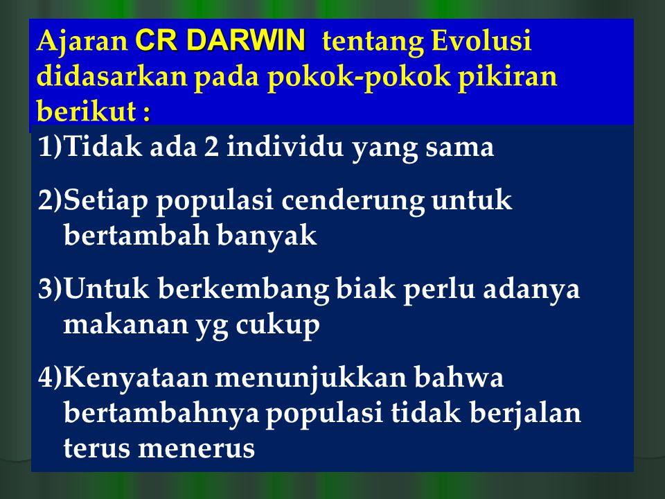 Ajaran CR DARWIN tentang Evolusi didasarkan pada pokok-pokok pikiran berikut :