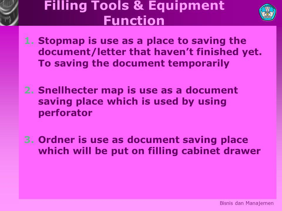 Filling Tools & Equipment Function