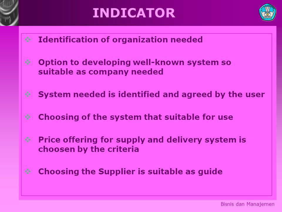 INDICATOR Identification of organization needed