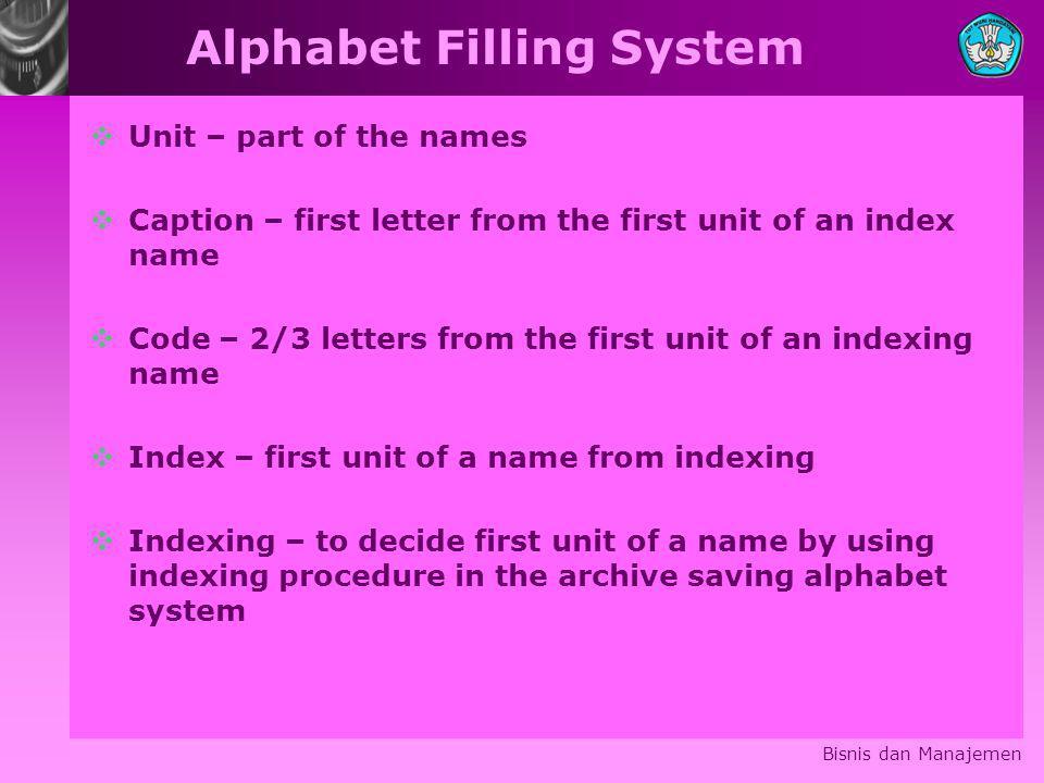 Alphabet Filling System
