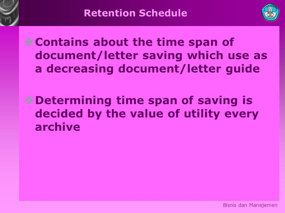 Retention Schedule Contains about the time span of document/letter saving which use as a decreasing document/letter guide.
